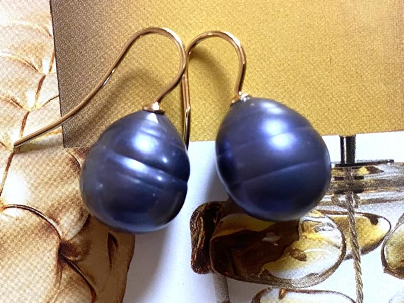 Vermeer parel oorbellen nachtblauw/goud