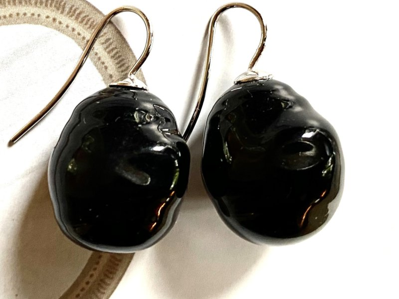 Barok parel oorbellen groot  zwart/zilver