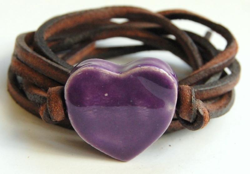 Armband leren veter met paars hart