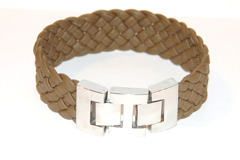 Herenarmband gevlochten nappa leer  breed army