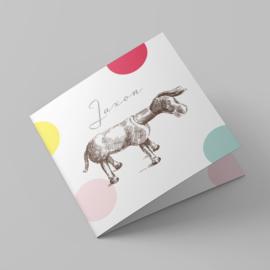Geboortekaartje vintage Lief ezeltje