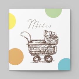 Geboortekaartje vintage Kinderwagen