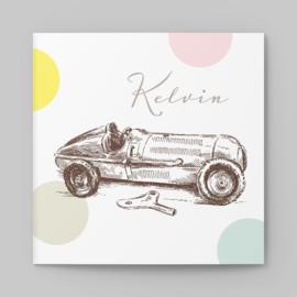 Geboortekaartje vintage Racewagen