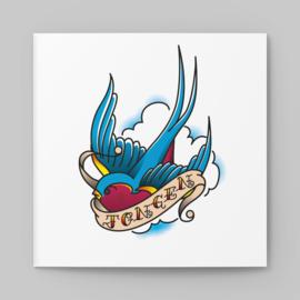 Stoere old school tattoo kaart met zwaluwtje