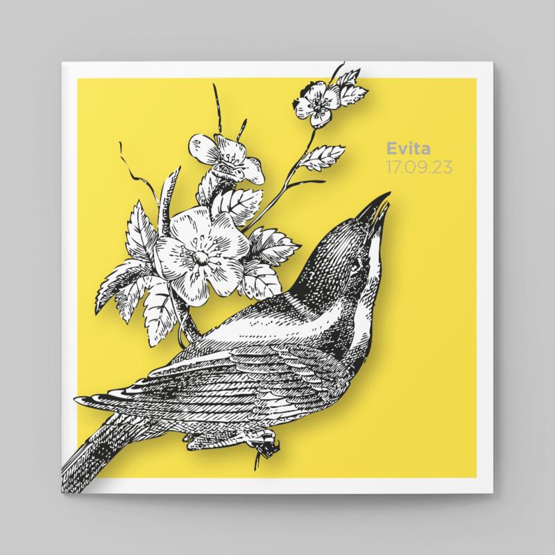 Geboortekaartje Vogeltje gravure