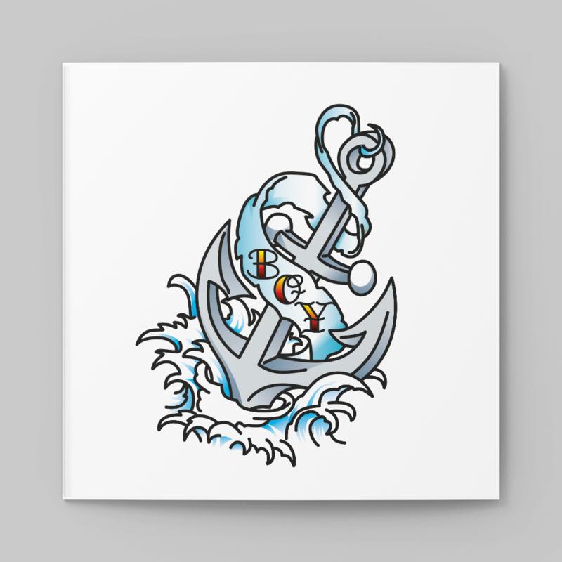 Stoere old school tattoo kaart met anker