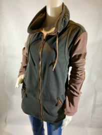 Sweater met rits - cavallino Morino - Zwart/Bruin - Maat XL