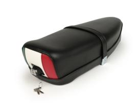 Zadel Tricolore Vespa ET3 / V50 / 50N / V90 / Primavera (PV) 125 - zwart - met slot