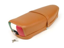 Zadel Tricolore Vespa ET3 / V50 / 50N / V90 / Primavera (PV) 125 - bruin - met slot