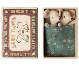 Maileg : Tweelingen Babymuisjes in Matchbox- 16-9712-01