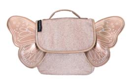 Caramel & Cie : Kleuterboekentas met verstelbare rugriemen : Koper (Glitter) met  (Gouden) Vleugels