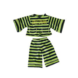 Living Puppets : Kledij  45 cm Groen Gestreepte Pyjama - W657