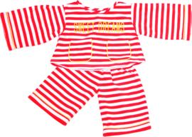 Living Puppets : Kledij  65 cm Pyjama Rood Gestreept - W586