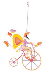 "L'Oiseau Bateau : Decoratieve Fiets ""Gele Vleugels op de Fiets"" - TRI0033"