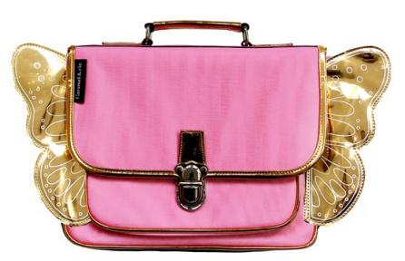 Kleuterboekentas met verstelbare rugriemen : Roze met Gouden Vleugels
