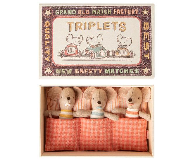 Maileg : Drieling Babymuisjes in Matchbox- 16-0710-01