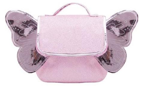 Caramel & Cie : Kleuterboekentas met verstelbare rugriemen : Roze Glitter met Roze Vleugels