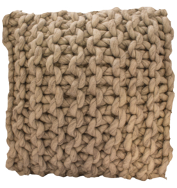 kussen Natural Luxury, grof gebreid wol, kleur lichtgrijs 45x45 cm
