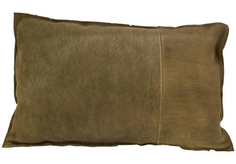 kussen Natural Luxury, leder vintage oud groen, 50x35 cm