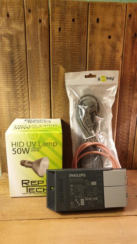 !!! AANBIEDING !!! Schakelbare Philips VSA + Reptech 50W HID lamp