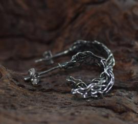 Zilveren vlechtwerk oorbellen
