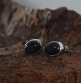 zilveren onyx oorbellen