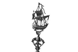 Zilveren geboortelepel Kogschip
