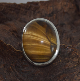 Zilveren tijgeroog ring