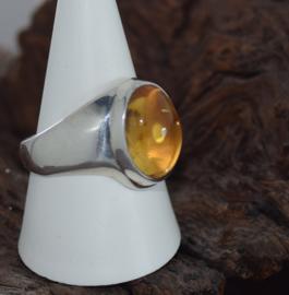Zilveren citrien ring