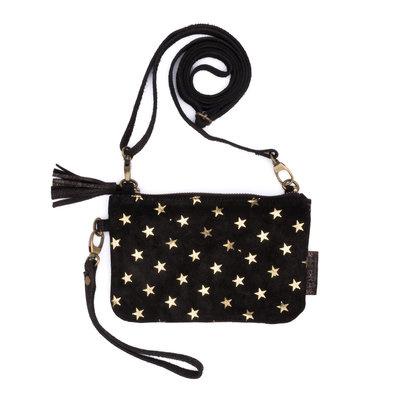 Zebratrends wallet Gigi echt leder zwart met gouden sterretjes