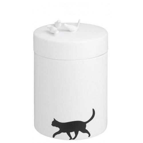 Rader porselein pot met deksel kat en vogeltjes
