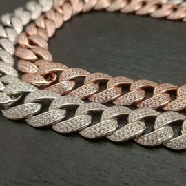 Fat Chain met zirkonias rose zilver