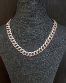 Fat Chain met zirkonias rose zilver
