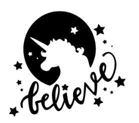 Muursticker BELIEVE IN UNICORNS