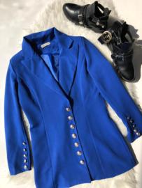 Long button blazer blue