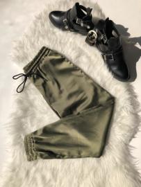 Satin pants green