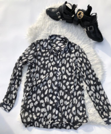 Leopard blouse black