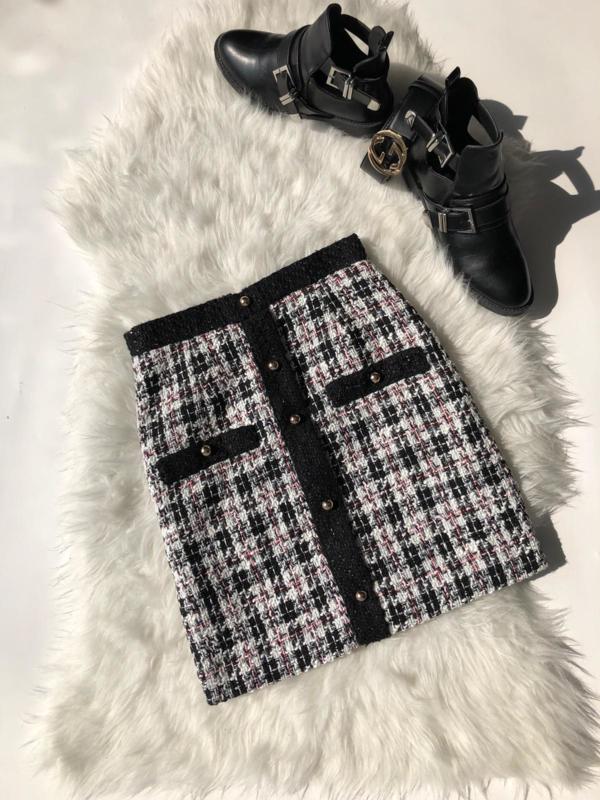 Tweed skirt black/white