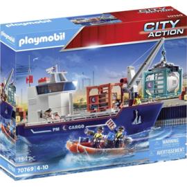 Playmobil 70769 - Groot containerschip met douaneboot