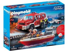 Playmobil 70054 - Brandweerauto met aanhanger en blusboot