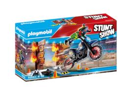 Playmobil 70553 - Stuntshow Stuntmotor met vuurwand