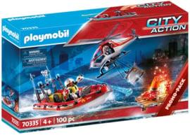 Playmobil 70335 - Brandweermissie met helikopter en boot Promopack