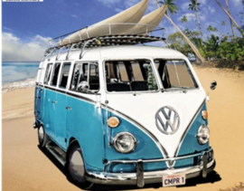 Full Diamond painting blauw VW busje 20 x 25 & 30 x 40 cm