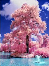 Full diamond painting  roze bomen 40 x 50 cm