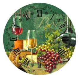 klok  met wijn & fruit 30 x 30 cm