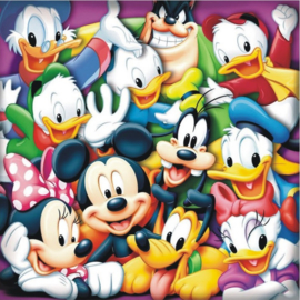 Full Diamond painting Mickey Mouse & z'n vriendjes 70 x 70 cm