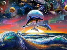 Full Diamond painting dolfijnen met planeten  40 x 50 cm