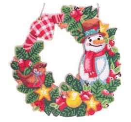 Kerstkrans Sneeuwpop