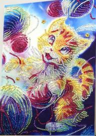 Speciale Painting  kat met bollen wol 25 x 35 cm