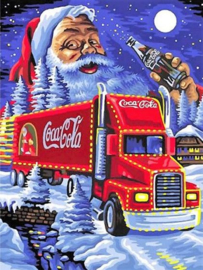 Full diamond Painting Coca Cola truck Kerstman 40 x 60 cm